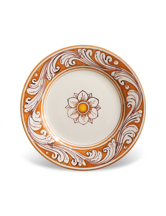 Piatti decorati Marzapane in ceramica di Caltagirone arancione