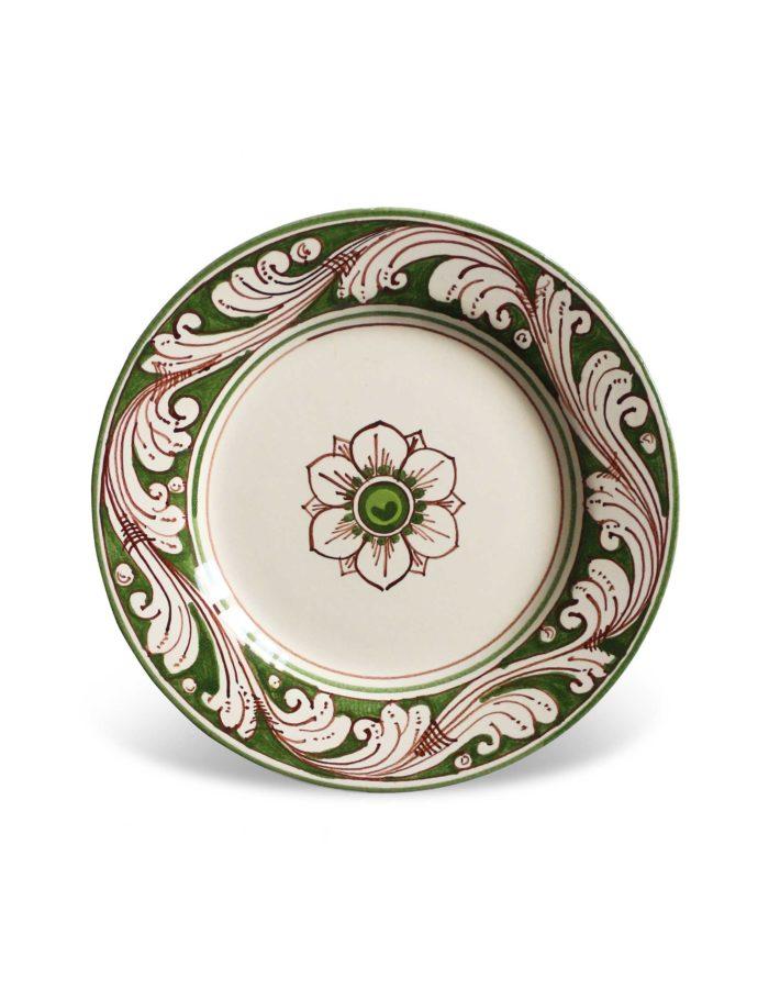 Piatti decorati Marzapane in ceramica di Caltagirone verde antico