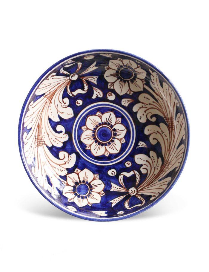 Piatti decorati Marzapane in ceramica di Caltagirone blu