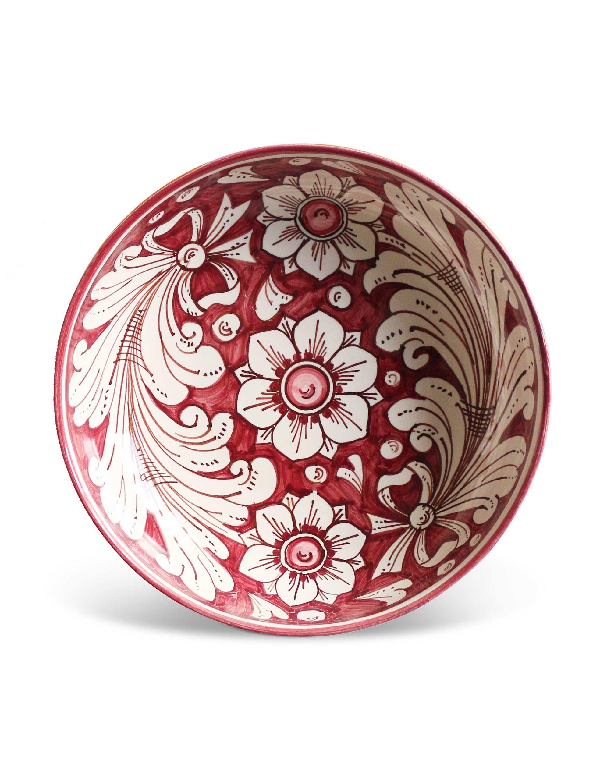 Piatti decorati Marzapane in ceramica di Caltagirone rosa antico