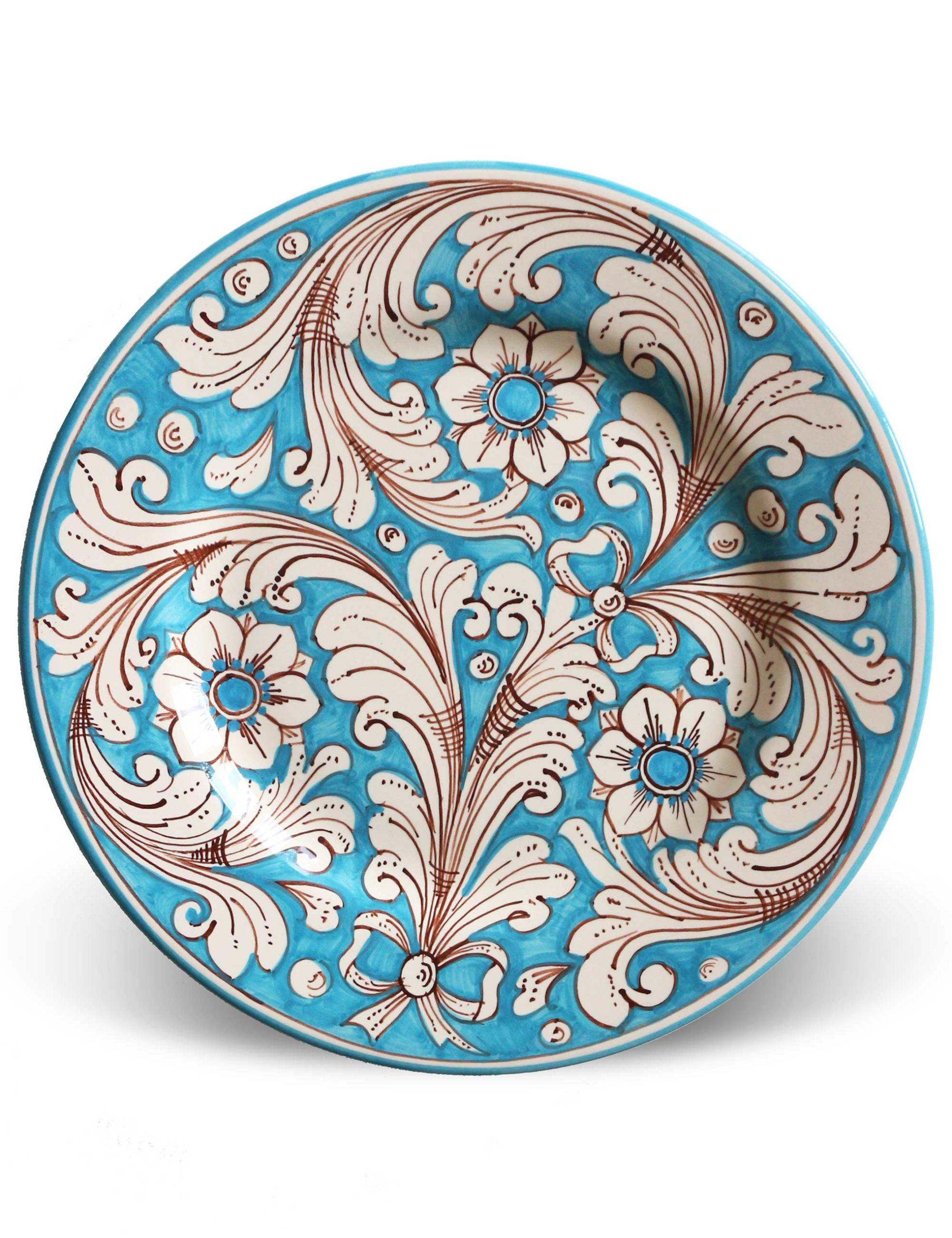 Piatti decorati Marzapane in ceramica di Caltagirone azzurro