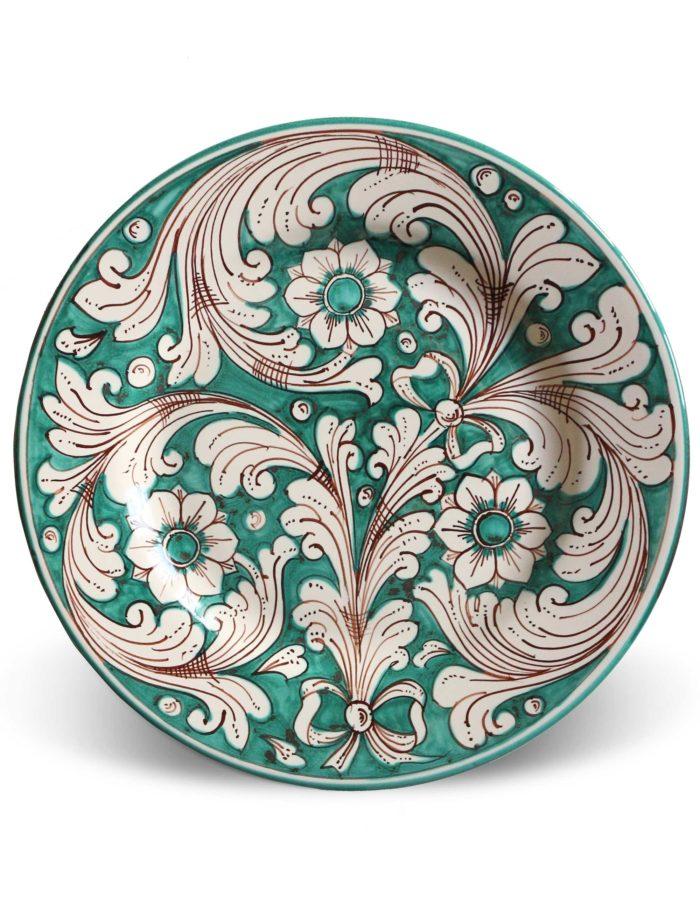 Piatti decorati Marzapane in ceramica di Caltagirone verde acqua