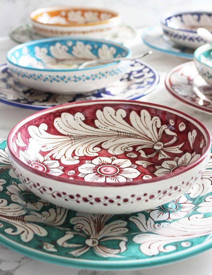 Coppe decorate Marzapane in ceramica di Caltagirone