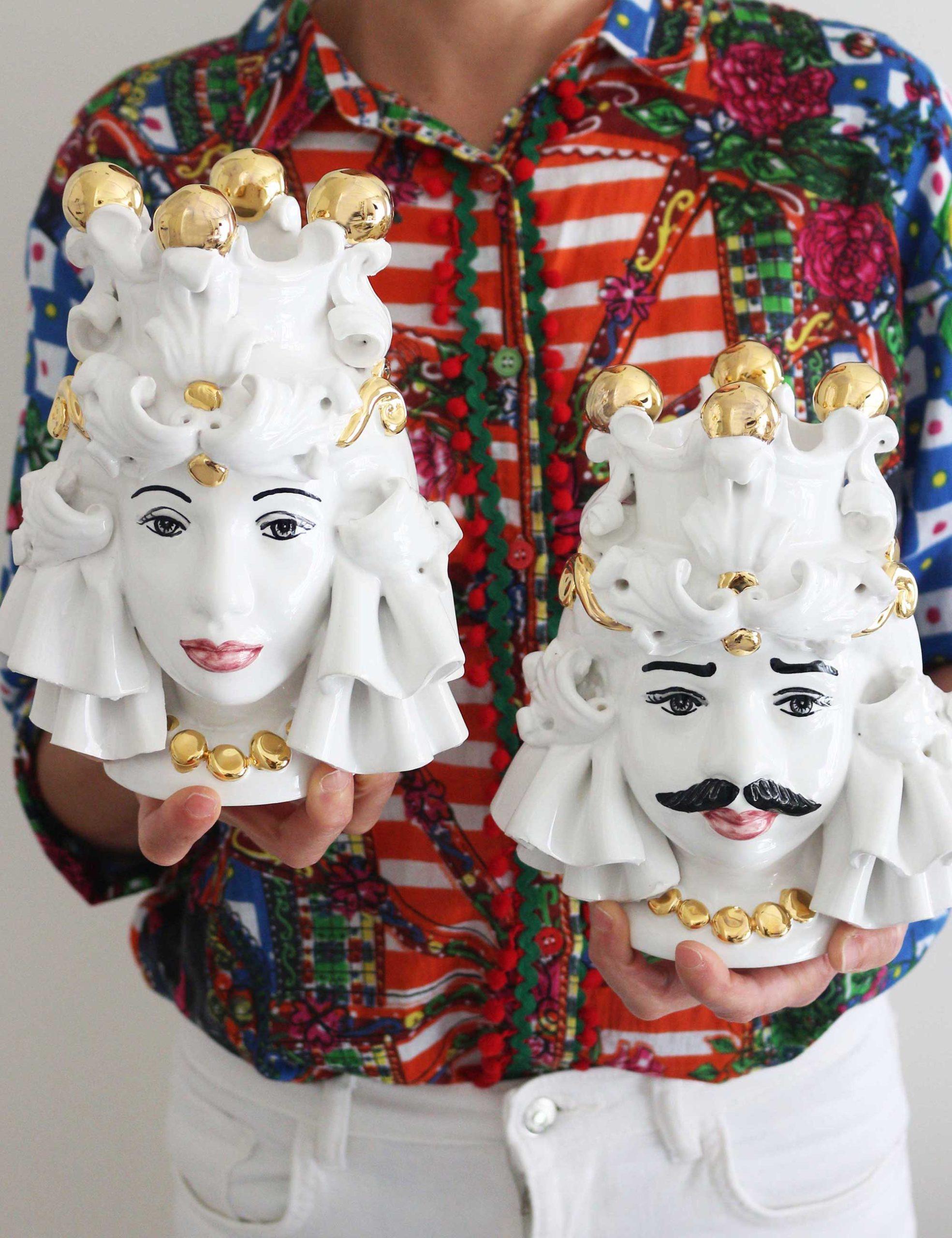 Teste di moro in ceramica siciliana con decori oro