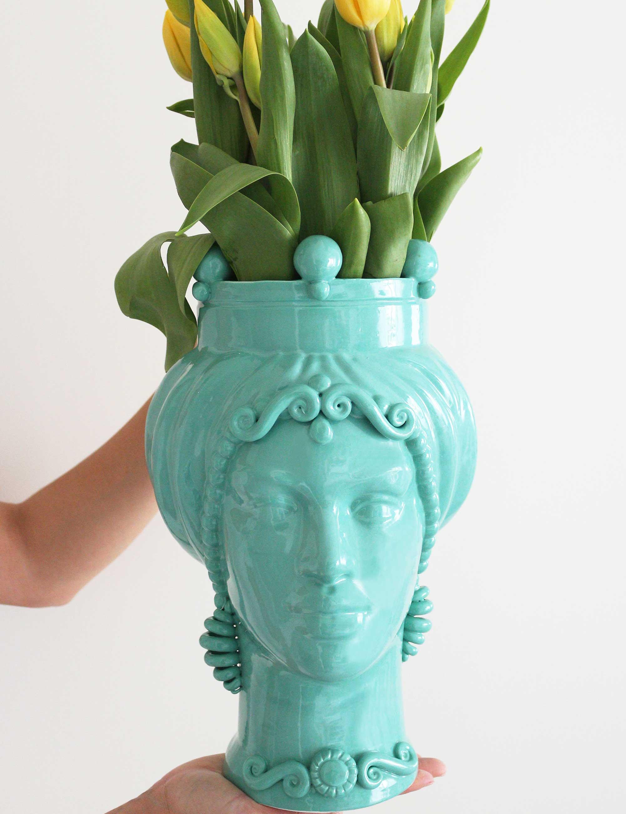 Testa di moro ceramica verde acqua