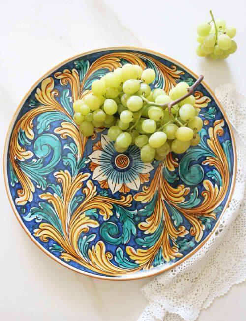 Piatto da portata ceramica siciliana decorata-Buccheri