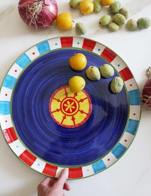 Caltagirone decorated ceramic serving plate-sicilian cart blue