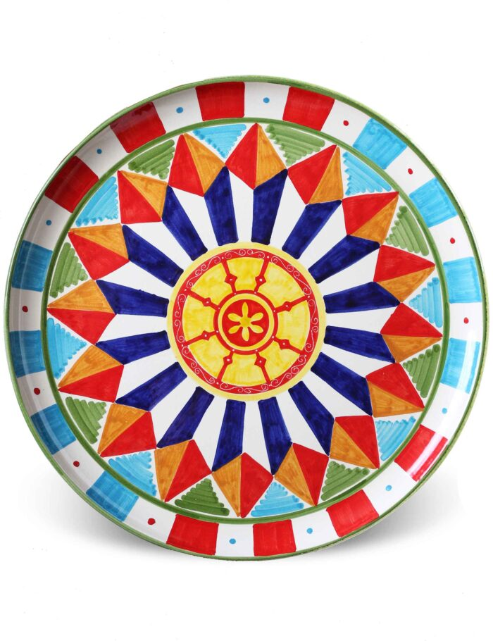 Caltagirone decorated ceramic serving plate-sicilian cart Vinaloru