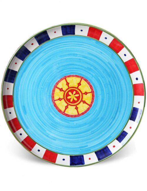 Caltagirone decorated ceramic serving plate-sicilian cart light blue
