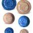 Set piatti in ceramica decorata siciliana blu mare e arancio
