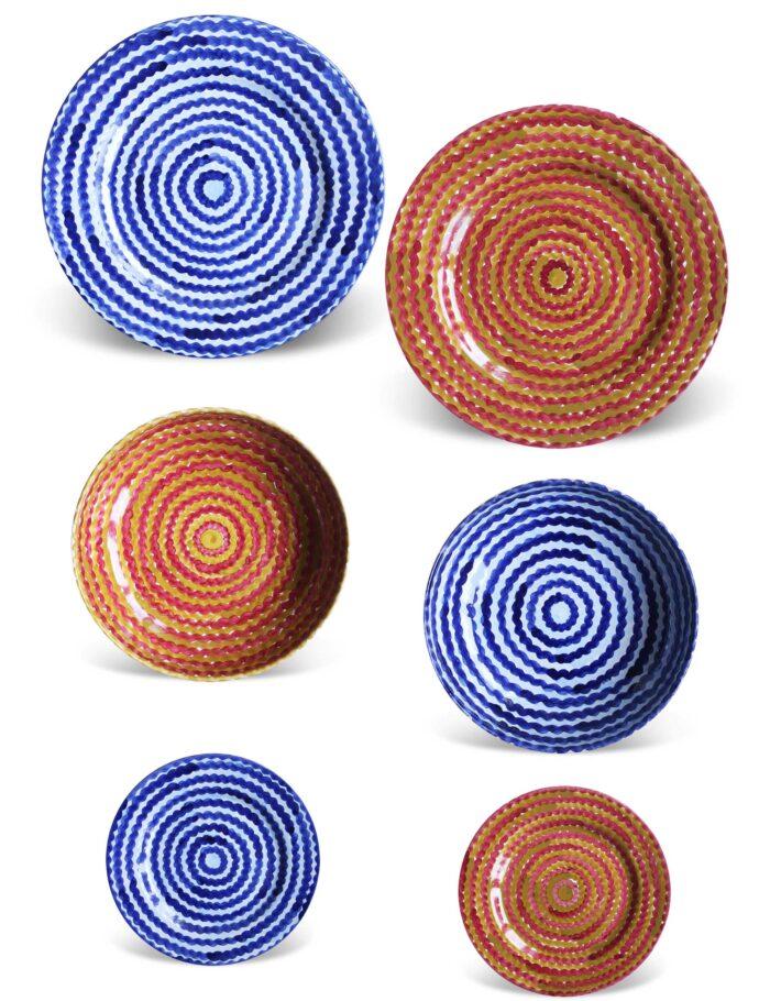 Set piatti in ceramica decorata siciliana blu profondo e terra bruciata