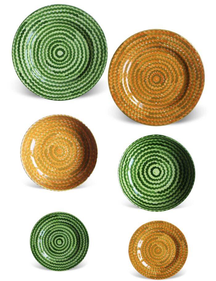Set piatti in ceramica decorata siciliana verde campo e ocra