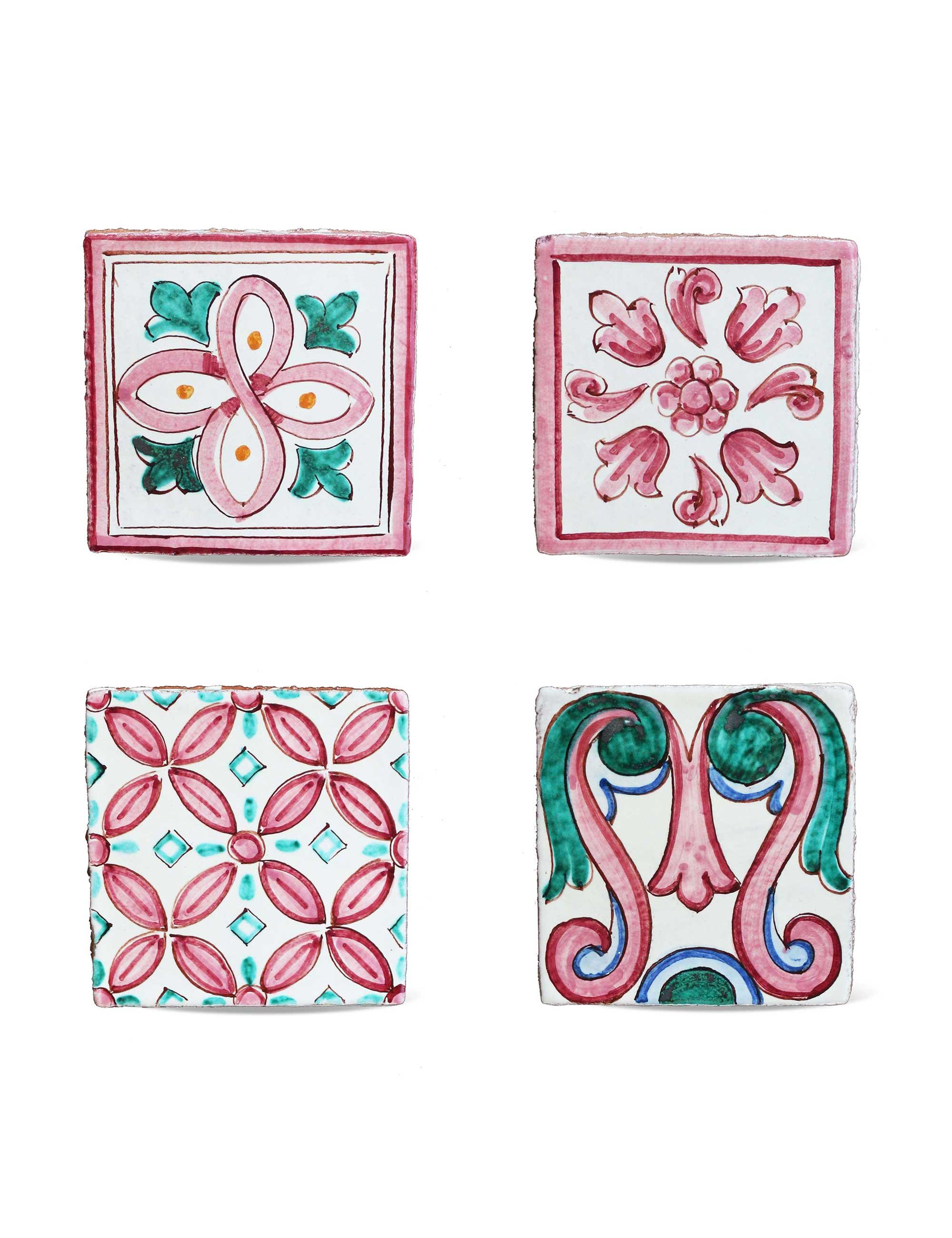 Set maioliche in ceramica di Caltagirone decorate a mano colore rosa