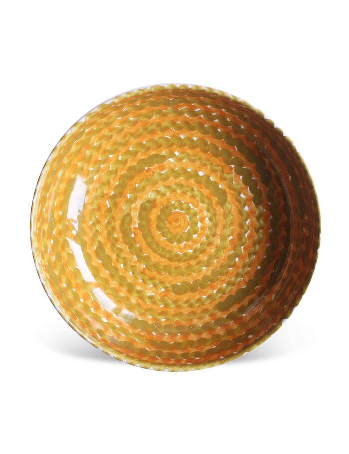 Piatto fondo in ceramica decorata siciliana ocra