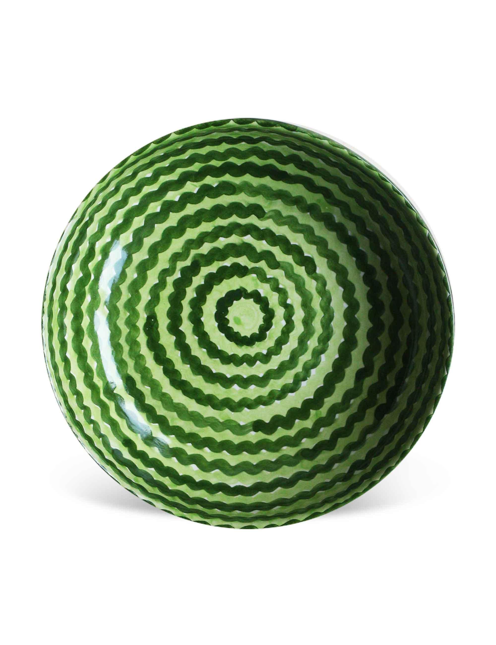 Piatto fondo in ceramica decorata siciliana verde campo