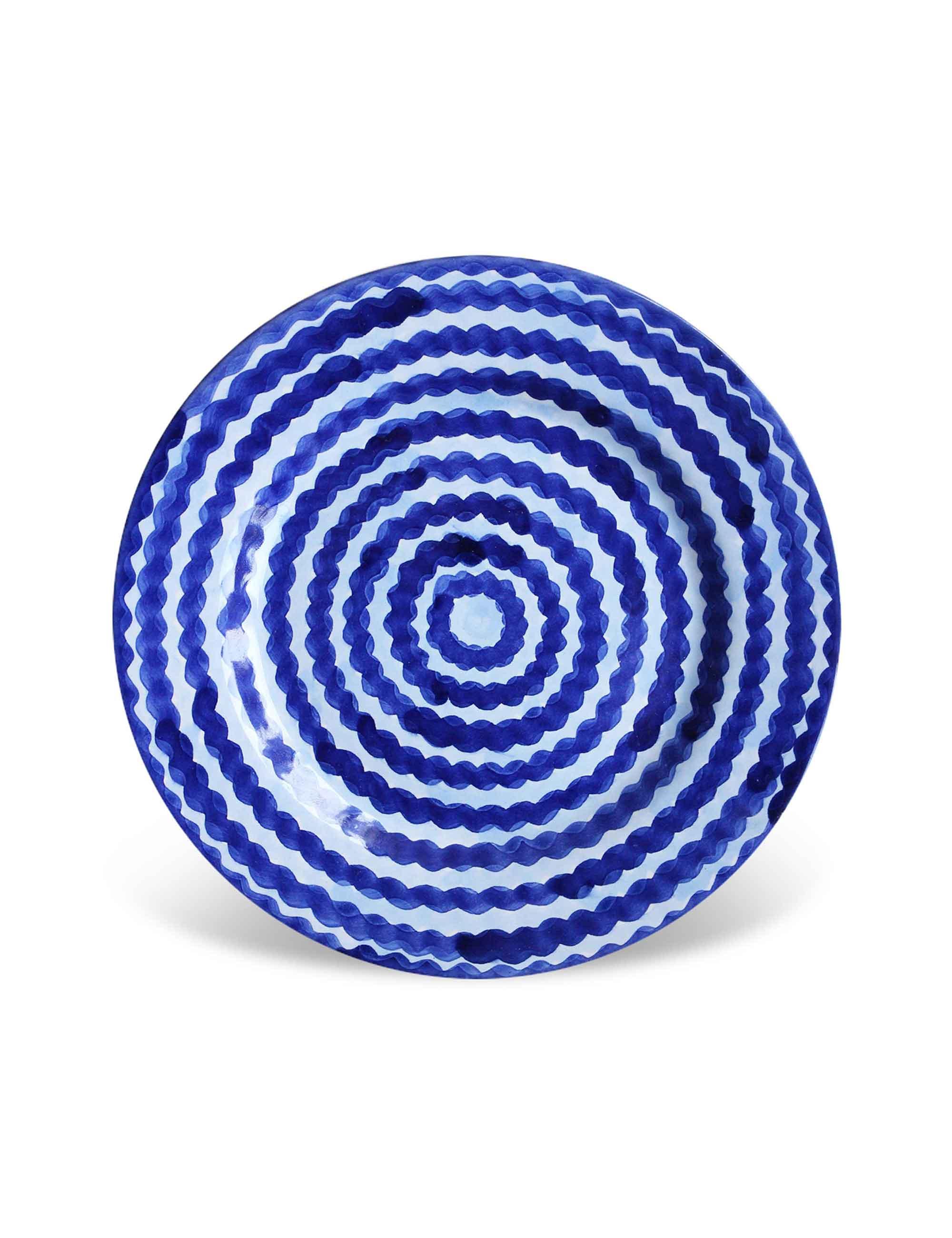 Piatto dessert Mediterra in ceramica decorata di Caltagirone blu profondo