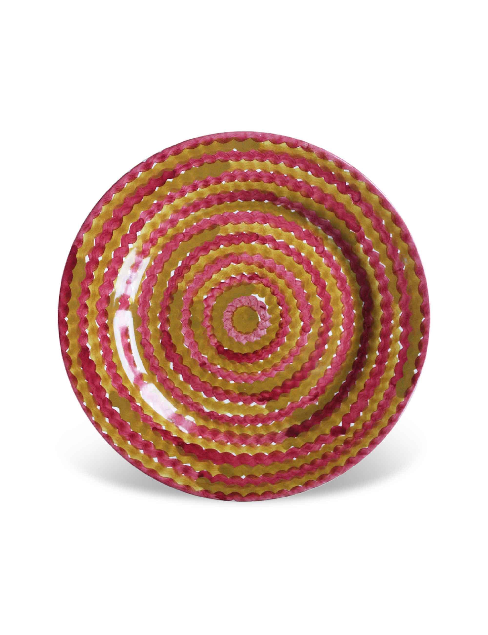 Piatto dessert Mediterra in ceramica decorata di Caltagirone terra bruciata