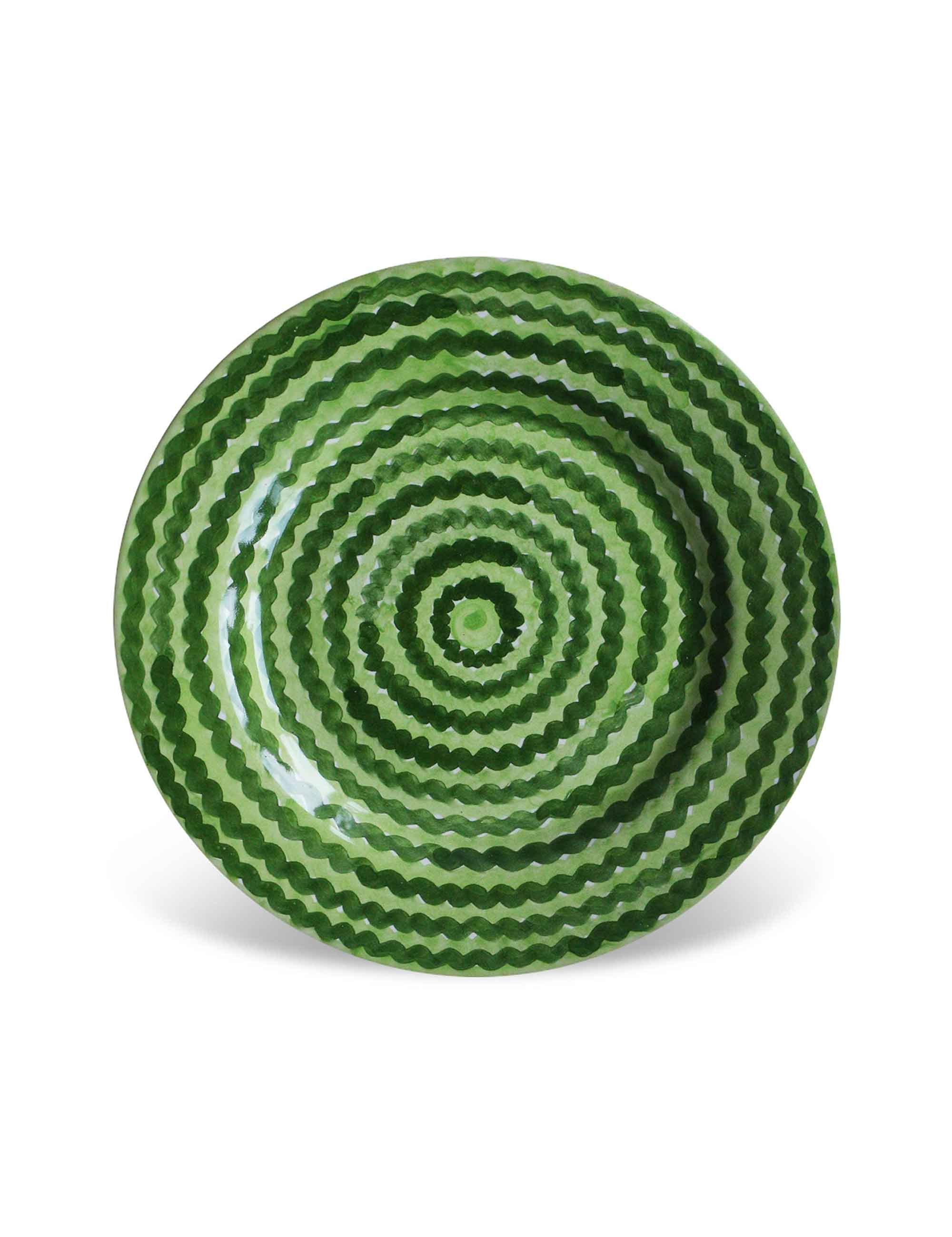 Piatto dessert in ceramica decorata siciliana verde campo