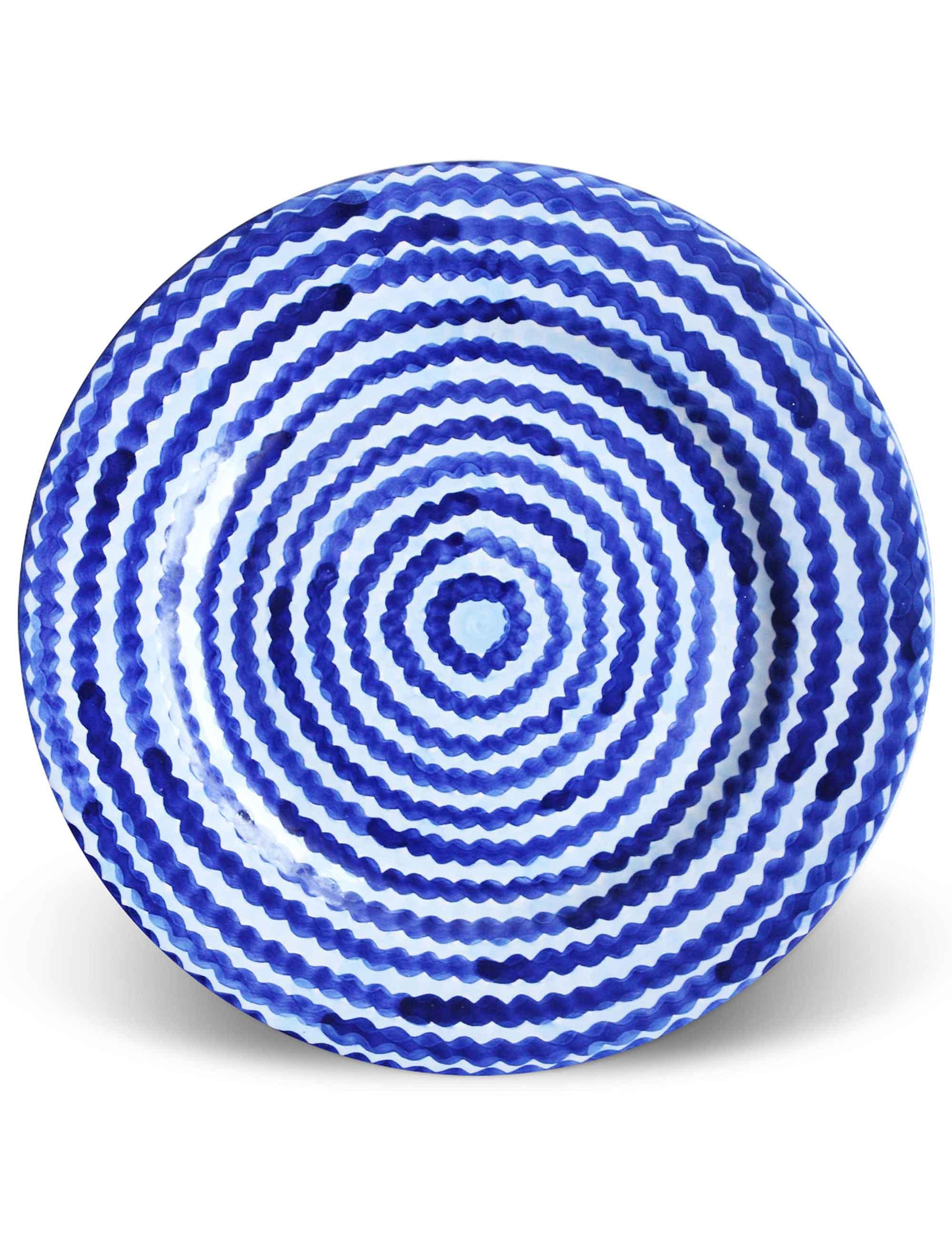 Piatto piano Mediterra in ceramica decorata di Caltagirone blu profondo