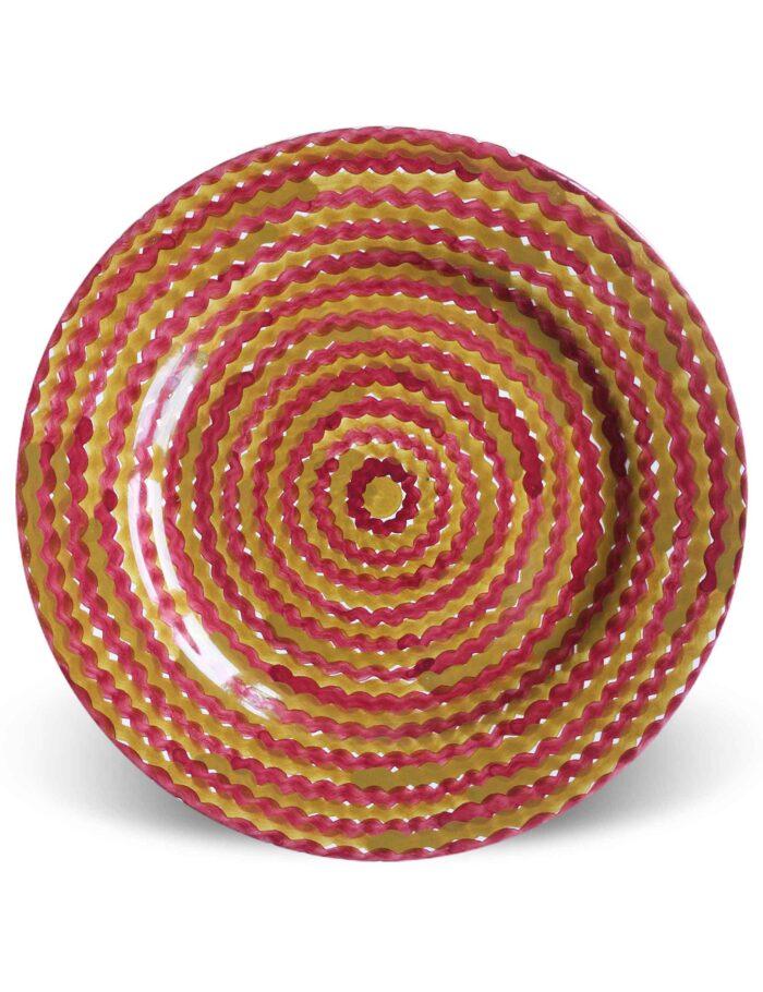 Piatto piano Mediterra in ceramica decorata di Caltagirone terra bruciata
