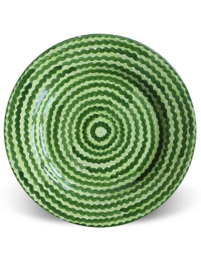 Piatto piano in ceramica decorata siciliana verde campo