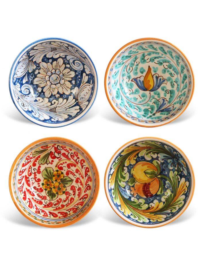 Coppe in ceramica decorata siciliana
