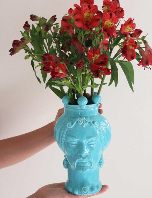Teste di moro in ceramica siciliana colore azzurro