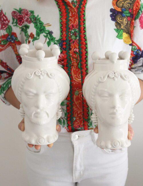 Teste di moro in ceramica siciliana colorata bianco