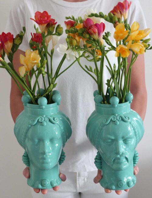 Teste di moro in ceramica siciliana verde