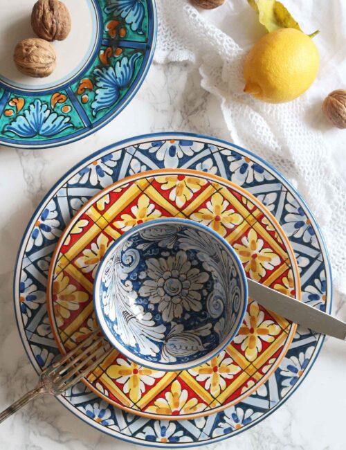 Piatto da dessert in ceramica artigianale siciliana