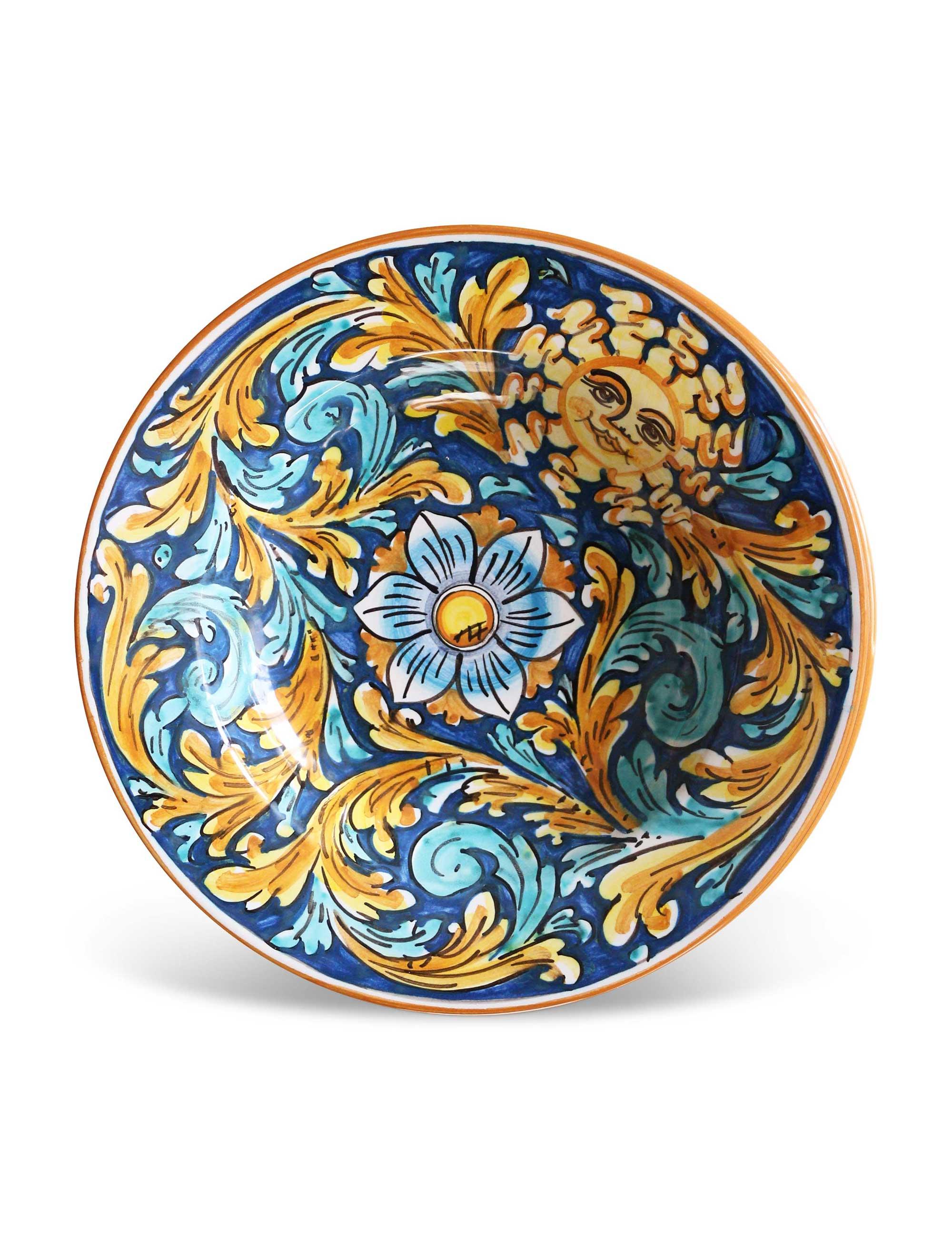 Piatto fondo in ceramica siciliana decorata