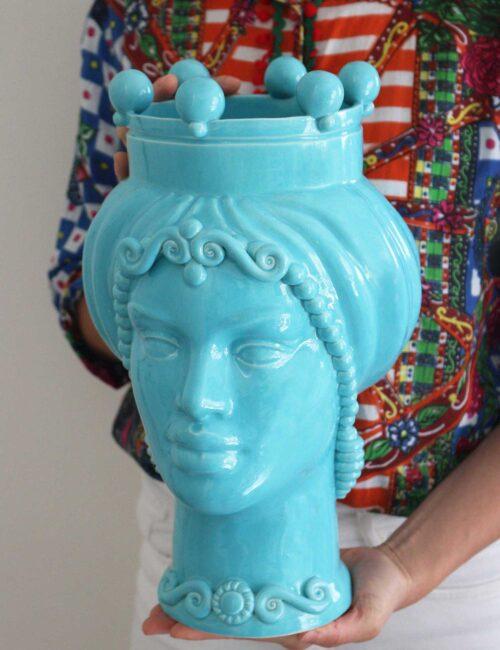 Testa di moro donna in ceramica siciliana colore azzurro