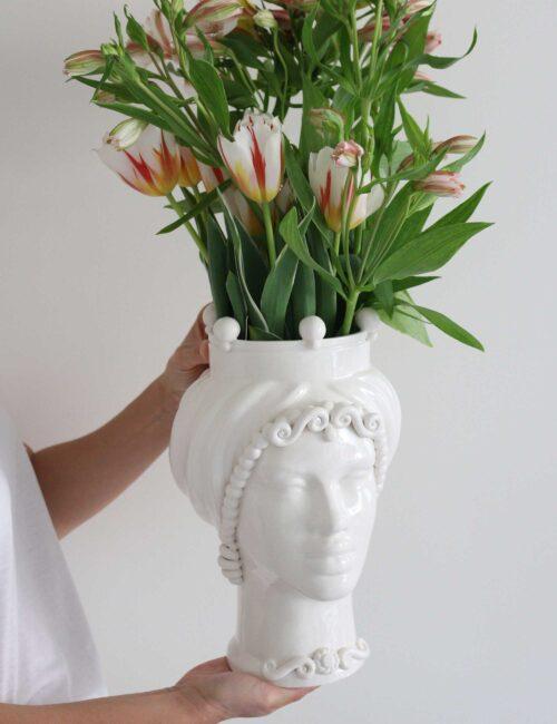Testa di moro donna in ceramica siciliana colore bianco