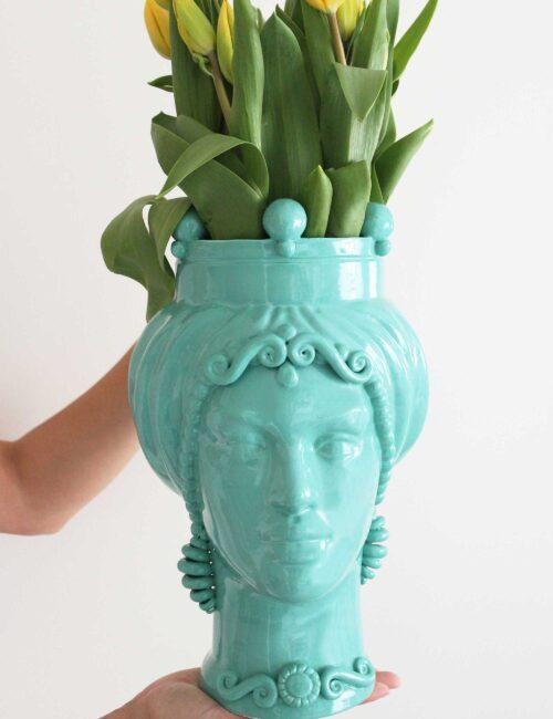Testa di moro donna in ceramica siciliana colore verde