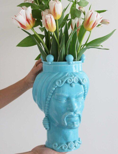 Testa di moro uomo in ceramica siciliana colore azzurro