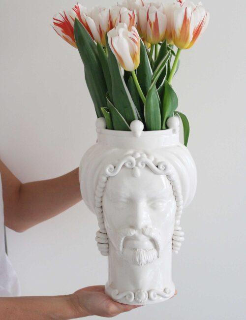 Testa di moro uomo in ceramica siciliana colore bianco