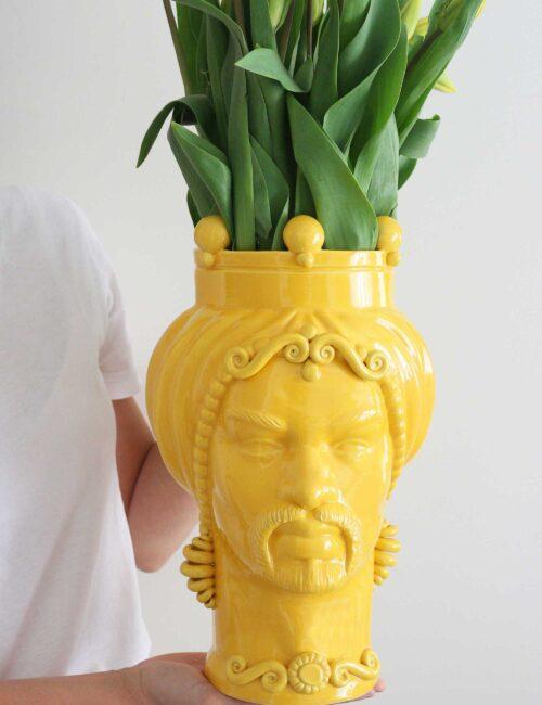 Testa di moro uomo in ceramica siciliana colore giallo