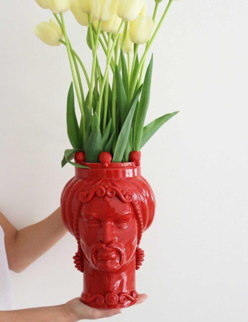 Testa di moro uomo in ceramica siciliana colore rosso